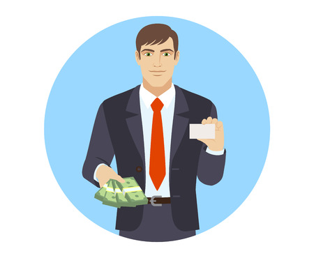 acquaintance: Businessman with money showing the business card. Portrait of businessman in a flat style. Vector illustration.