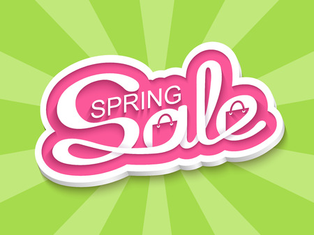 Spring sale. Sale banner with calligraphic inscription. Vector illustration. Illustration