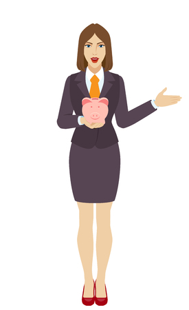 gesticulation: Businesswoman with piggy ban kshowing something beside of him. Full length portrait of businesswoman in a flat style. Vector illustration. Illustration