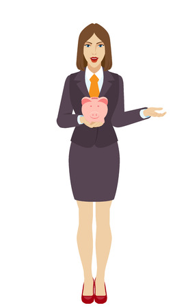 gesticulation: Businesswoman with piggy bank gesturing. Full length portrait of businesswoman in a flat style. Vector illustration.