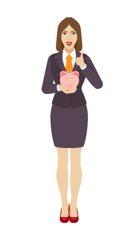 confirm: Businesswoman with piggy bank showing thumb up. Full length portrait of businesswoman in a flat style. Vector illustration.