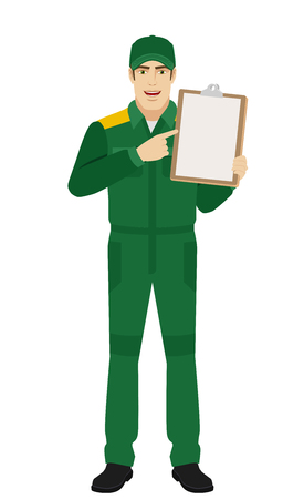 Man in uniform pointing the finger to clipboard.