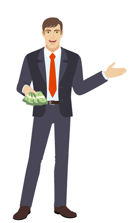 gesticulation: Welcome! Businessman with money showing something beside of him. Full length portrait of businessman in a flat style. Vector illustration.