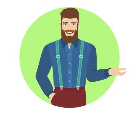 gesticulation: Hipster is talking and gesturing. Portrait of hipster in a flat style. Vector illustration. Illustration