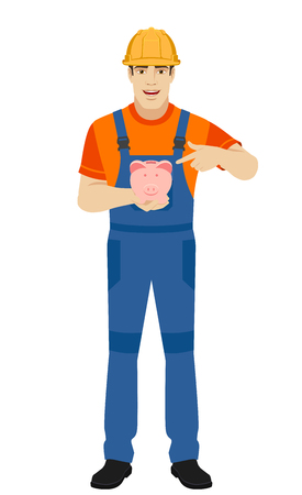 Builder pointing the finger to piggy bank. Full length portrait of builder in a flat style. Vector illustration.