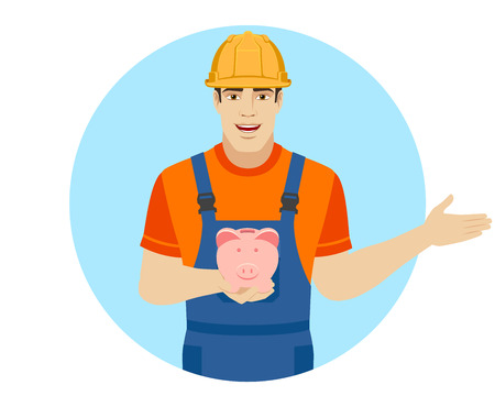 Welcome! Builder holding a piggy bank and showing something beside of him. Portrait of builder in a flat style. Vector illustration. Illustration