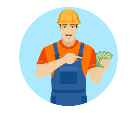 Builder pointing the finger to cash money. Portrait of builder in a flat style. Vector illustration.