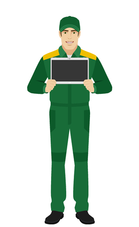worker working: Man in uniform showing blank digital tablet PC. Full length portrait of Delivery man or Worker in a flat style. Vector illustration.