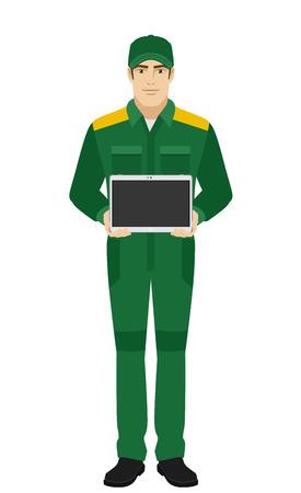 Homem em uniforme que mostra um tablet PC em branco. Homem em uniforme Retrato completo de Delivery Man ou Worker em um estilo plano. Ilustração do vetor.