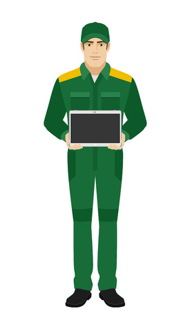Man in uniform showing blank digital tablet PC. Man in uniform Full length portrait of Delivery man or Worker in a flat style. Vector illustration. Illustration