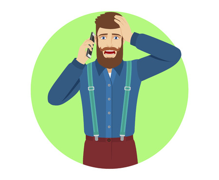 PHipster talking on the mobile phone and grabbed his head. ortrait of hipster in a flat style. Vector illustration.