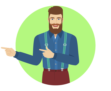 somewhere: Two index fingers pointing. Hipster showing somewhere. Portrait of hipster in a flat style. Vector illustration. Illustration
