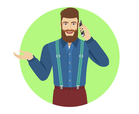 gesticulation: Hipster talking on the mobile phone and gesturing. Portrait of hipster in a flat style. Vector illustration. Illustration