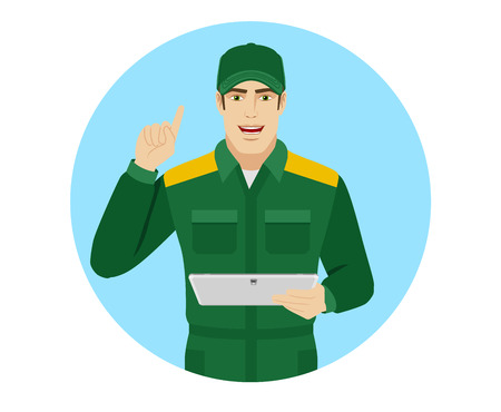 Man in uniform holding digital tablet PC and pointing up. Portrait of Delivery man or Worker in a flat style. Vector illustration. Illustration