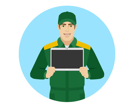 Man in uniform showing blank digital tablet PC. Portrait of Delivery man or Worker in a flat style. Vector illustration.