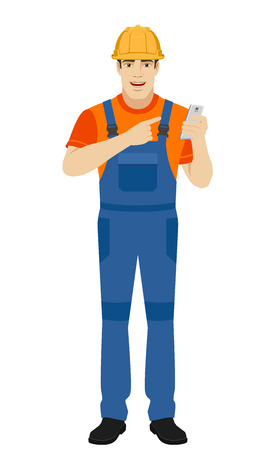 Builder pointing the finger to mobile phone. Full length portrait of builder in a flat style. Vector illustration. Illustration