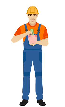 Builder puts banknote in a piggy bank. Full length portrait of builder in a flat style. Vector illustration. Ilustracja