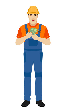 Builder with cash money. Full length portrait of builder in a flat style. Vector illustration. Illustration