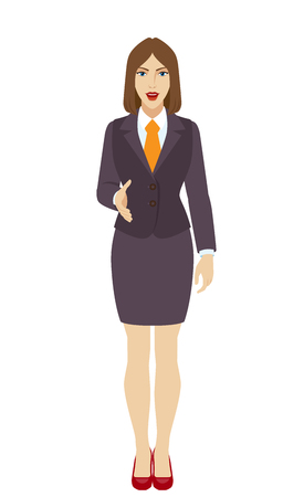acquaintance: Businesswoman gives a hand for a handshake. Full length portrait of businesswoman in a flat style. Vector illustration.
