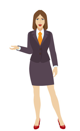 gesticulation: Businesswoman gesturing. Full length portrait of businesswoman in a flat style. Vector illustration. Illustration