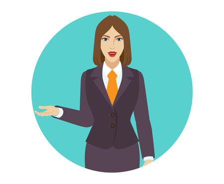 gesticulation: Businesswoman gesturing. Portrait of businesswoman in a flat style. Vector illustration. Illustration