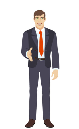 Businessman gives a hand for a handshake. Full length portrait of businessman in a flat style. Vector illustration.