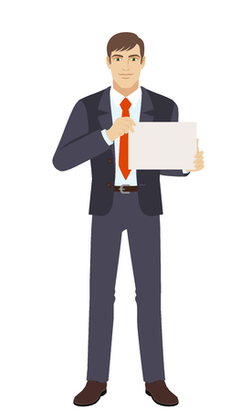 Businessman showing a a paper. Full length portrait of businessman in a flat style. Vector illustration.