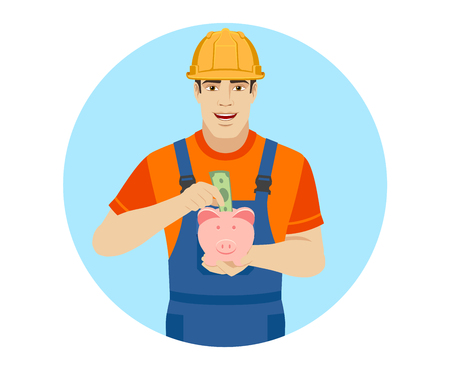 Builder puts banknote in a piggy bank. Portrait of builder in a flat style. Vector illustration. Ilustracja