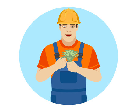 Builder with cash money. Portrait of builder in a flat style. Vector illustration. Illustration