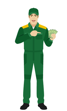 Man in uniform pointing at money in his hand. Full length portrait of Delivery man or Worker in a flat style. Vector illustration. Illustration