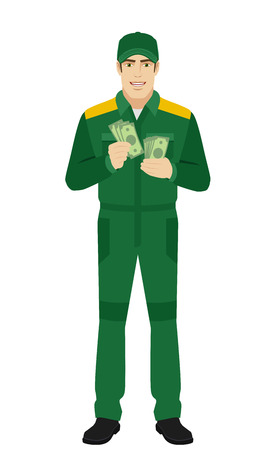 Man in uniform counts the money. Full length portrait of Delivery man or Worker in a flat style. Vector illustration.