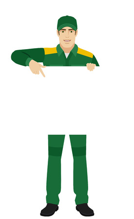 Man in uniform pointing at banner over white. Full length portrait of Delivery man or Worker in a flat style. Vector illustration.
