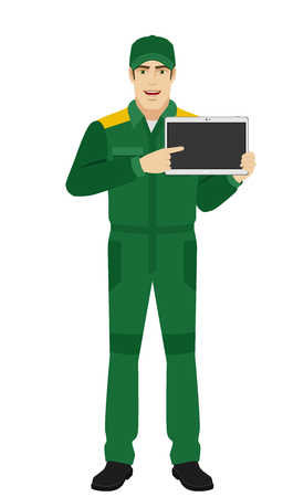 Man in uniform pointing at digital tablet PC. Full length portrait of Delivery man or Worker in a flat style. Vector illustration.