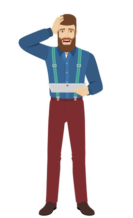 metrosexual: Hipster holding digital tablet PC and grabbed his head. Full length portrait of hipster in a flat style. Vector illustration.