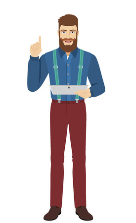 metrosexual: Hipster holding digital tablet PC and pointing up. Full length portrait of hipster in a flat style. Vector illustration.