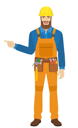 Worker showing somewhere. Full length portrait of worker in a flat style. Vector illustration. Illustration