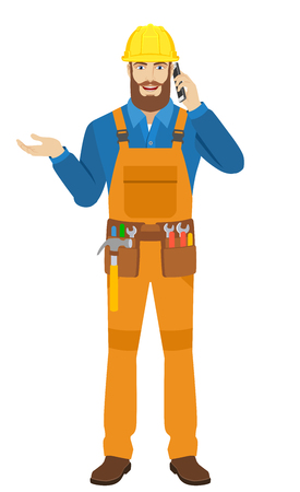 Worker gesturing and talking on the mobile phone. Full length portrait of worker in a flat style. Vector illustration. Illustration