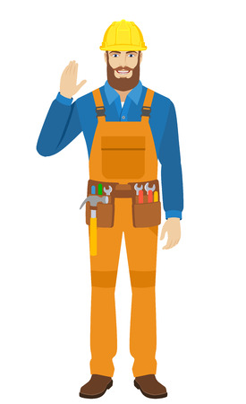 Worker greeting someone with his hand raised up. Full length portrait of worker in a flat style. Vector illustration. Illustration