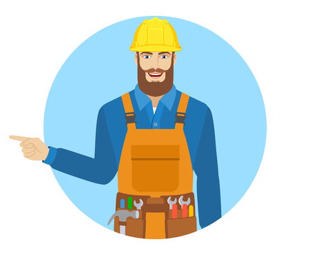 somewhere: Worker showing somewhere. Portrait of worker in a flat style. Vector illustration. Illustration