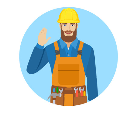 acquaintance: Worker greeting someone with his hand raised up. Portrait of worker in a flat style. Vector illustration.