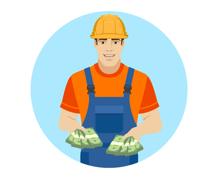Builder with cash money. Portrait of builder in a flat style. Vector illustration. Illustration