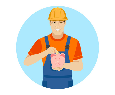 Builder puts coin in a piggy bank. Portrait of builder in a flat style. Vector illustration. Illustration