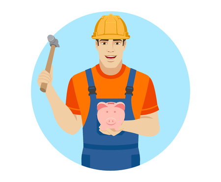 Builder trying to break a piggy bank with a hammer. Portrait of builder in a flat style. Vector illustration.