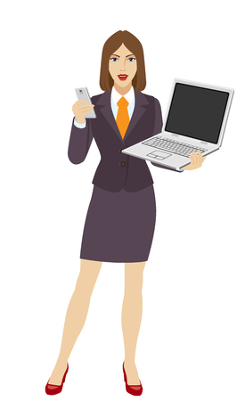 laptop mobile: Businesswoman holding a laptop notebook and a mobile phone. Full length portrait of businesswoman in a flat style. Vector illustration.