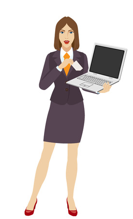 Businesswoman holding a laptop notebook and puts the business-card in his pocket. Full length portrait of businesswoman in a flat style.