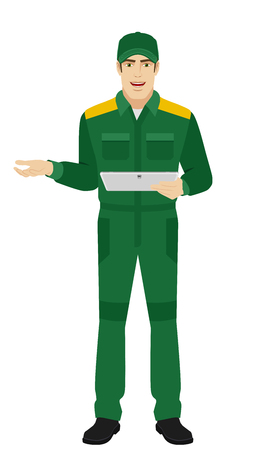Worker holding digital tablet PC and gesturing. Full length portrait of Delivery man or Worker in a flat style. Illustration