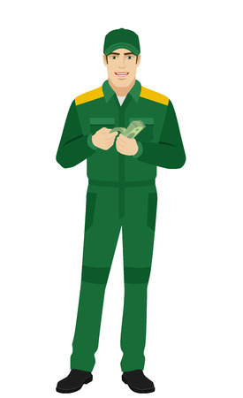 Man in uniform counts the money. Full length portrait of Delivery man or Worker in a flat style. Illustration