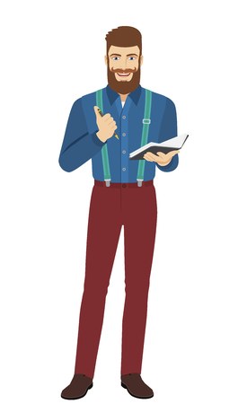 Hipster with pen and pocketbook. Full length portrait of hipster in a flat style. Vector illustration.