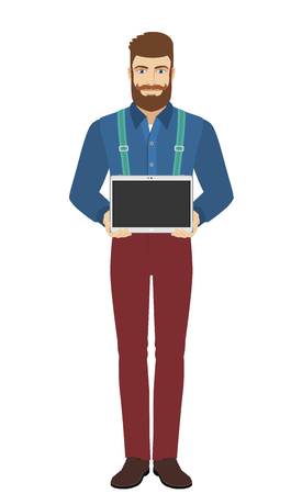 Hipster showing blank digital tablet PC. Full length portrait of hipster in a flat style. Vector illustration.