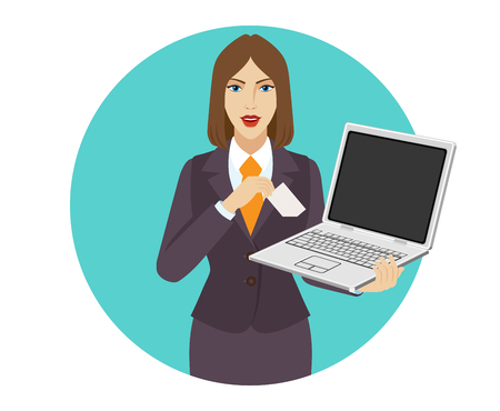 pocket pc: Businesswoman holding a laptop notebook and puts the business-card in his pocket. Portrait of businesswoman in a flat style. Vector illustration.